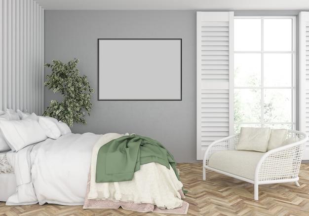 空の水平フレームモックアップと寝室