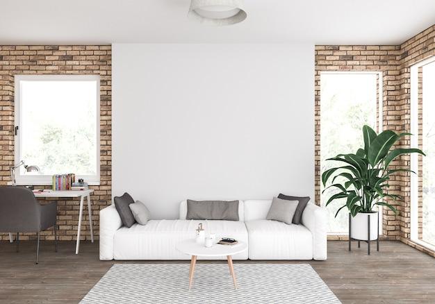 空白の壁付きのリビングルーム