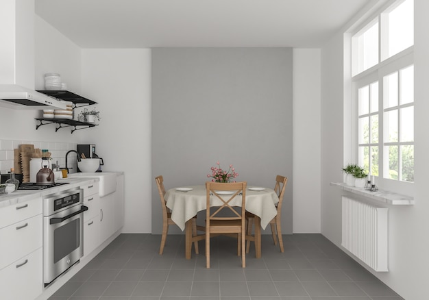 空白の壁と居心地の良いキッチン