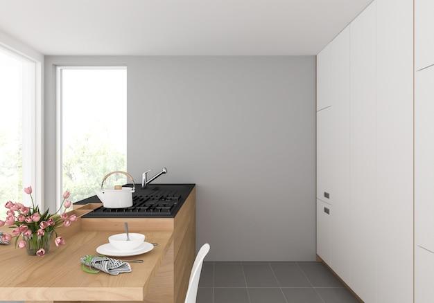 空白の壁とキッチン