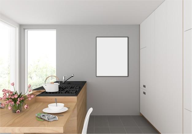 壁に掛かっている縦型フォトフレーム付きのキッチン