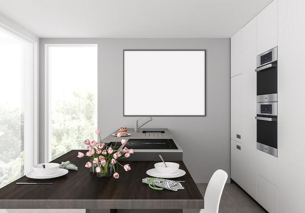 壁に掛かっている水平フォトフレーム付きのキッチン