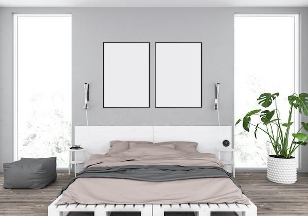 ダブルフレーム付きの素朴なベッドルーム、モダンなインテリア