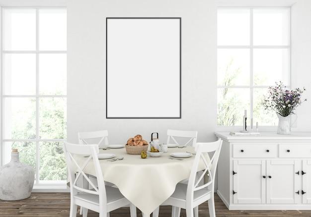 素朴な白いキッチン、垂直フレームモックアップ、アートワークディスプレイ