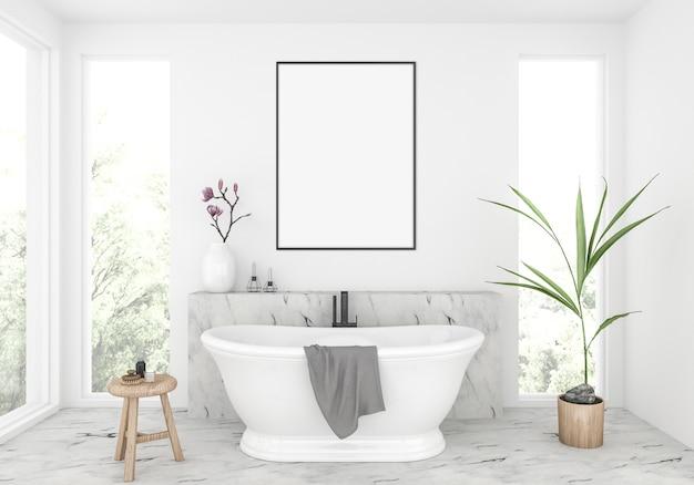 エレガントなバスルーム、縦型フレームのモックアップ、アートワークディスプレイ