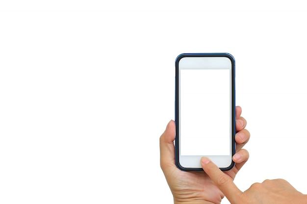 白い背景の上の携帯電話で写真を撮る