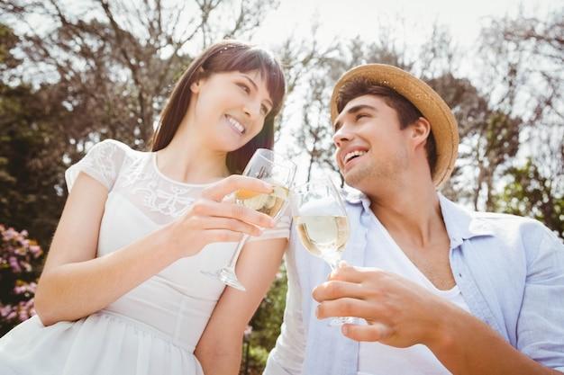 若いカップルがピクニックでワイングラスを乾杯