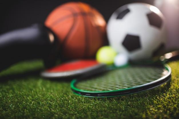 ボクシンググローブとバスケットボールサッカーテニスゴルフボールと円盤のクローズアップ