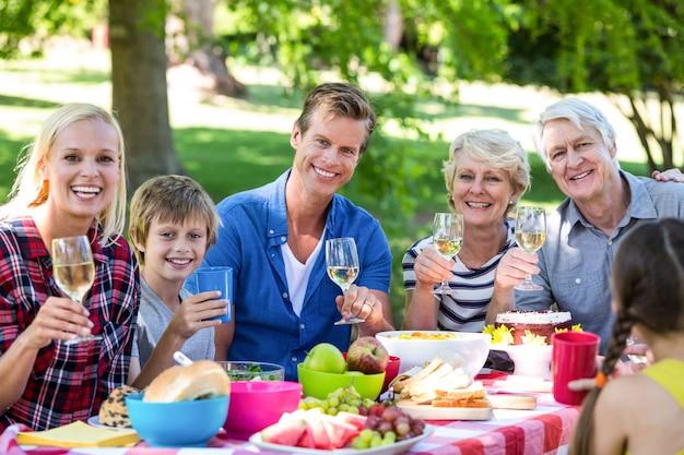 Семья и друзья на пикнике