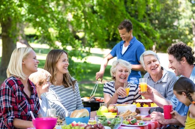 Семья и друзья на пикнике с барбекю