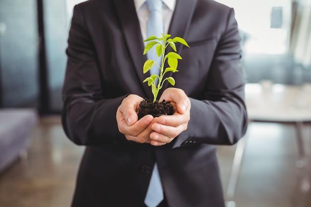 植物を保持しているビジネスの男性の中間セクション