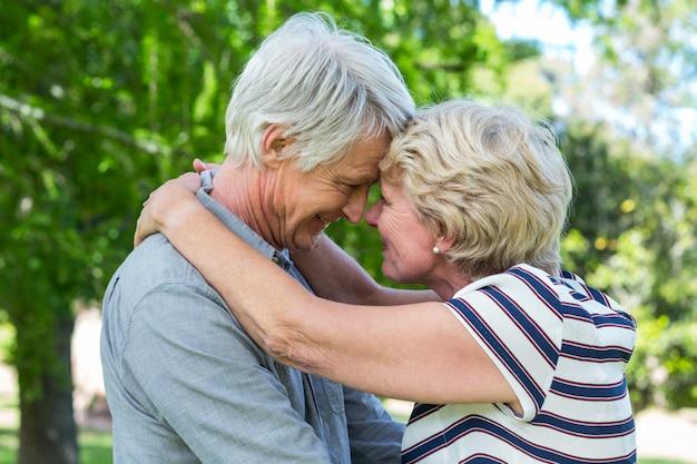 頭を抱きしめる年配のカップル