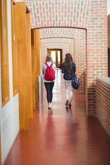Вид сзади студентов в коридоре в университете