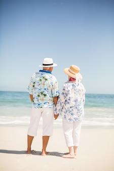 ビーチで手を繋いでいる年配のカップル