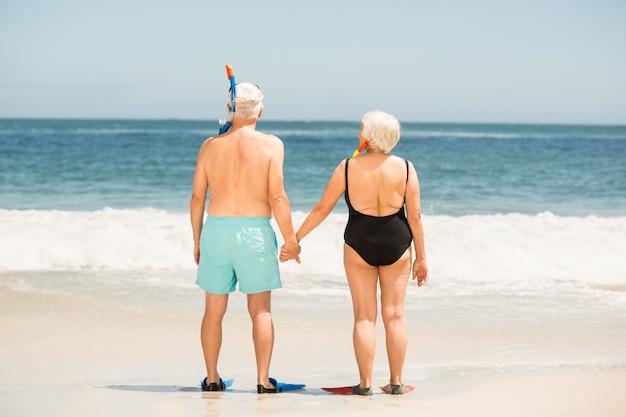 足ひれを着ている年配のカップル
