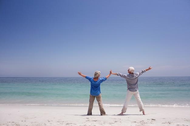 ビーチに立っている年配のカップルの背面図