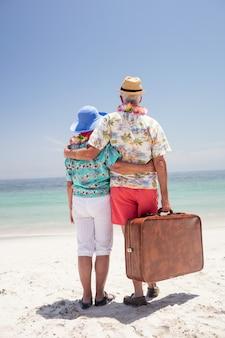 花輪を着て海を見て年配のカップルの背面図