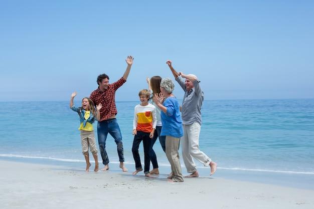 Многопоколенная семья танцует на берегу моря