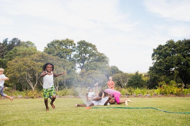 Дети играют вместе в солнечный день