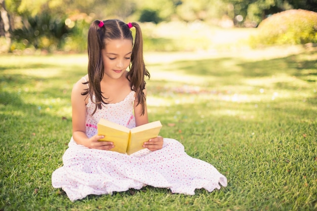 若い女の子は公園で本を読んで