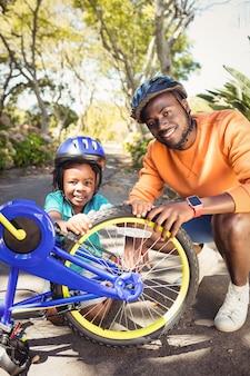家族の自転車の修理