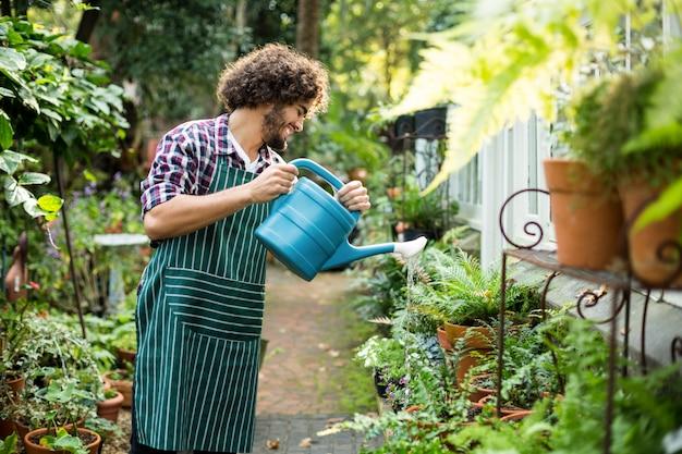 Счастливый садовник поливает растения