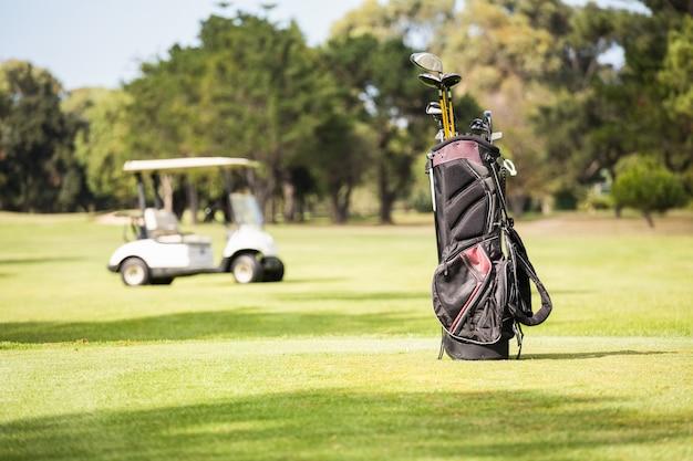 いっぱいのゴルフバッグとゴルフバギー