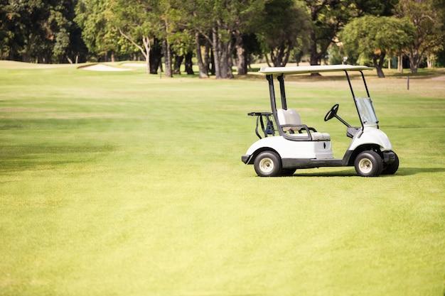 ゴルフコースで一人でゴルフバギー