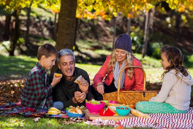 公園で朝食を持っている家族