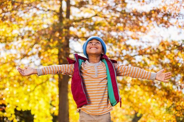 秋の木々に対して両腕を広げて幸せな少年