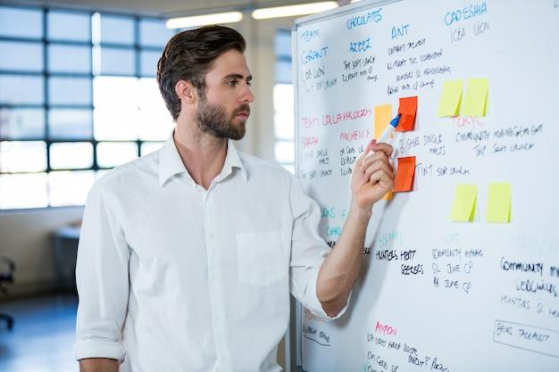 Бизнесмен, указывая на заметку