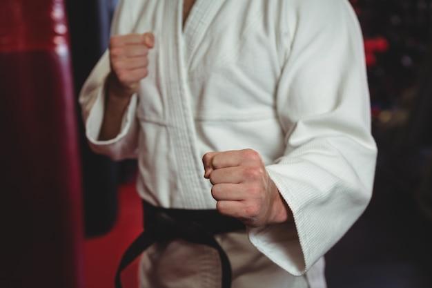 Игрок каратэ, выполняющий стойку каратэ