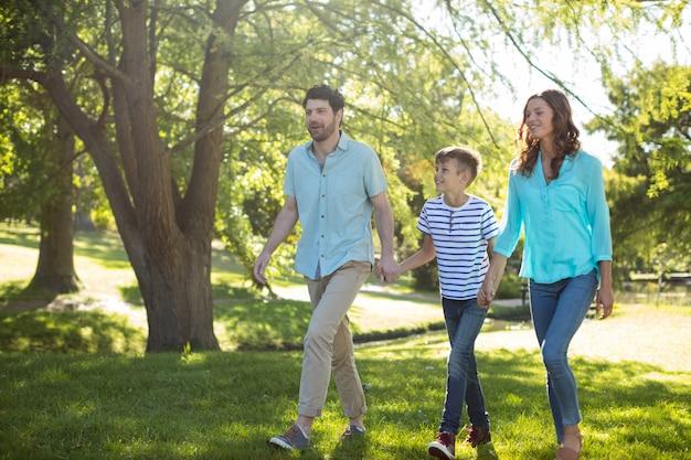 Счастливая семья с руки в руке гуляя в парк