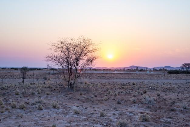 Восход солнца над пустыней намиб, национальный парк намиб науклуфт, путешествия в намибию, африку