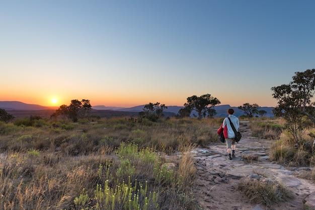 南アフリカの有名な旅行先であるブライドリバーキャニオンの高原に沈む夕日。茂みの中を歩く一人、背面図。