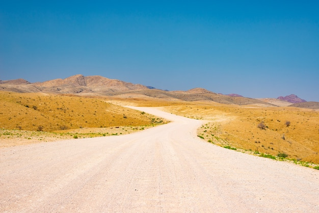 カラフルなナミブ砂漠を横切る砂利の曲がりくねった道、雄大なナミブナウクルフト国立公園、アフリカのナミビアで最高の旅行先。