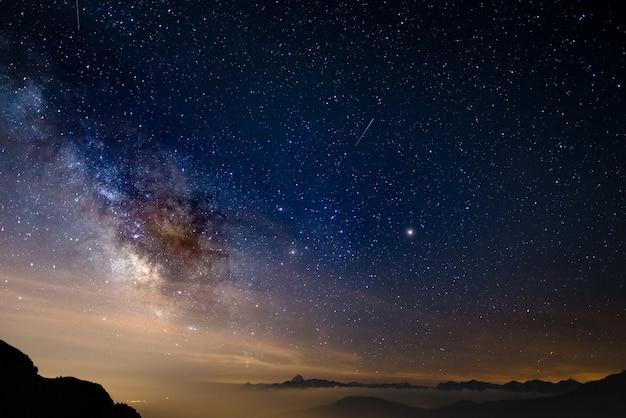 夏の高高度で撮影された星空