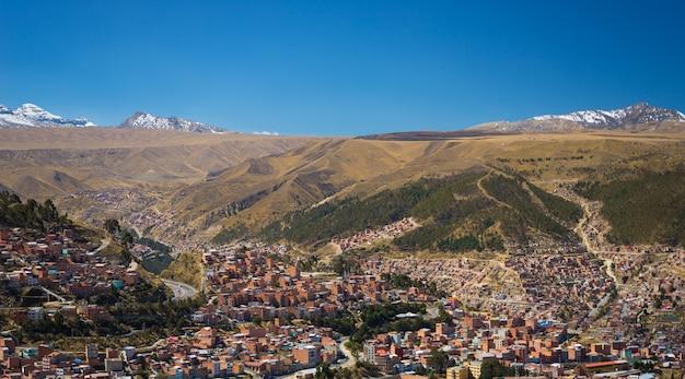 ボリビアのエルアルトからラパスの街並み