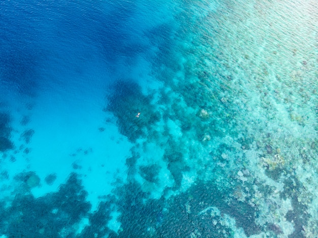 Воздушные сверху вниз люди подводное плавание на коралловом рифе тропического карибского моря