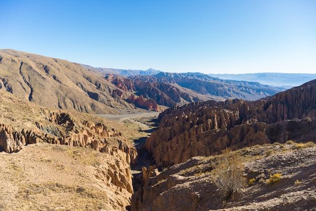 ボリビア南部、トゥピザ周辺の侵食された山脈