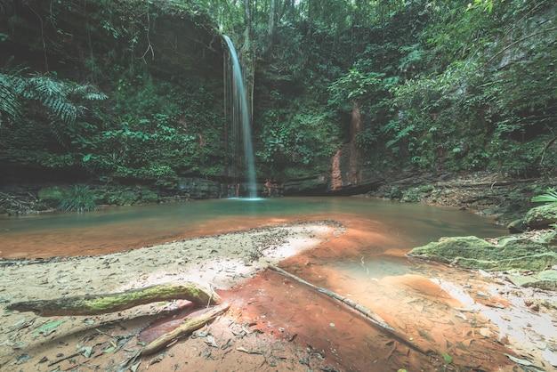 マレーシア、ボルネオ島のランビルヒルズ国立公園の熱帯雨林に隠された多色の天然プール。