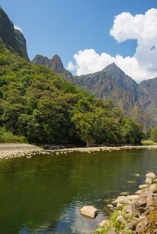 ペルーのウルバンバ川とマチュピチュ山
