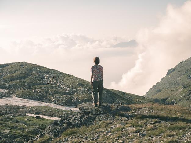 アルプスの高台の景色を見ている一人。広大な風景、夕暮れの牧歌的な景色。背面図、トーンのイメージ。