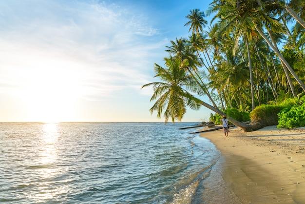 熱帯のビーチの上を歩く熱帯のビーチでリラックスした伝統的なアジアの帽子を持つ女性