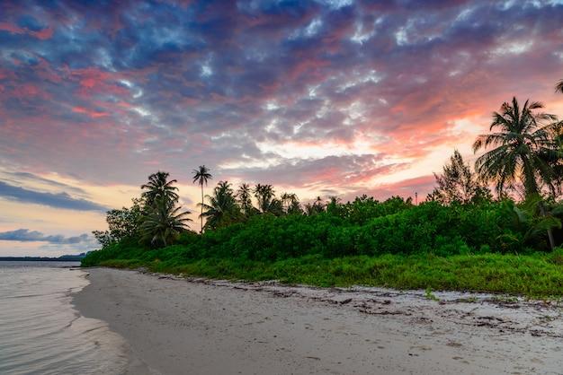 熱帯の砂漠の浜の海に劇的な夕焼け空