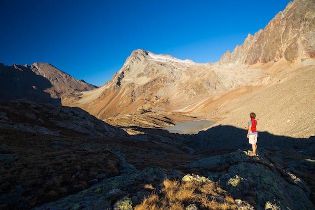 アルプスの高台の景色を見ている一人。広大な風景、夕暮れの牧歌的な景色。背面図。