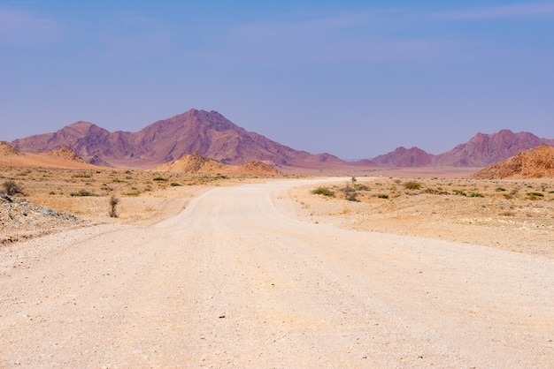 ナミブ砂漠、ナミブナウクルフト国立公園、ナミビアの旅行先での道路旅行。アフリカの旅行の冒険。