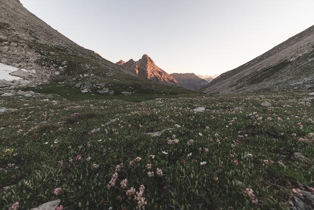高山の牧草地と牧草地は、日没時の標高の高い山脈に囲まれています。夏の有名な旅行先であるイタリアアルプス。トーンの画像、ビンテージフィルター、スプリットトーン。