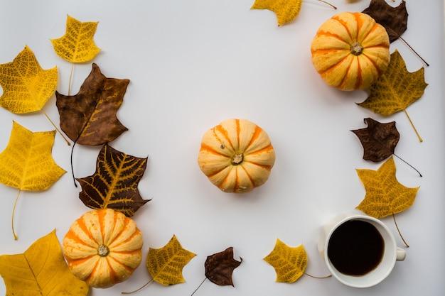 秋のカボチャ、ブラックコーヒーカップ、紅葉