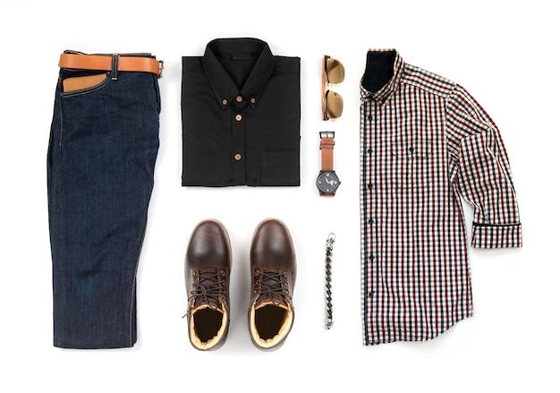 紳士服のセットとアクセサリー、トップビュー